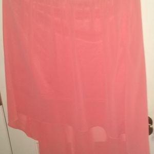 Forever 21 Asymmetrical Medium Pink Salmon Skirt